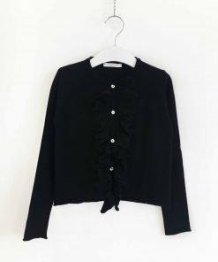 Cardigan Via Elisa in misto cachemire nero con piccole rouges sul davanti, vestibilità regolare, bottoni in simil madreperla.