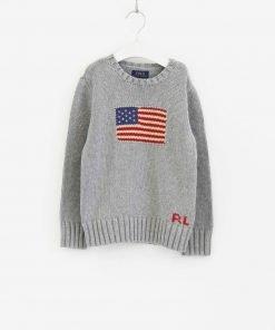 Maglione girocollo Polo Ralph Lauren grigio chiaro in tricot con bandiera frontale dai colori a contrasto polsini a costine