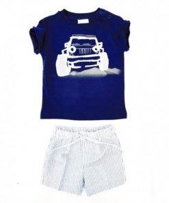Completo Il Gufo due pezzi in jersey elasticizzato composto da t-shirt a manica corta blu con stampa jeep nel deserto e applicazione in tessuto