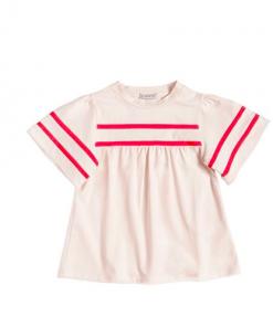 T-Shirt Moncler girocollo color rosa pallido, maniche svasate, applicazione logo sulle manicheProfili in grosgrain a contrasto