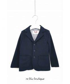 Blazer Il Gufo blu scuro con collo a scialle in cotone, modello morbido in cotone felpato, due tasche frontali applicate, bottoni loggati
