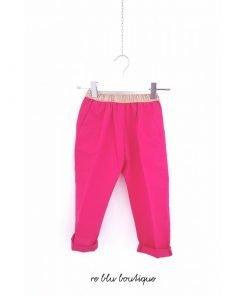 """Pantalone Hartford in cotone color fucsia, elastico in vita oro, senza zip, tasche laterali. Il modello si chiama """"pirouette""""."""
