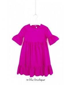 Vestito Il Gufo a mezza manica con volant in fresco popeline di cotone color rosa ciclamino, zip a scomparsa sula schiena.