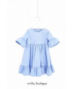 Vestito Il Gufo a mezza manica con volant in fresco popeline di cotone color azzurro cielo, zip a scomparsa sula schiena, maniche a petalo