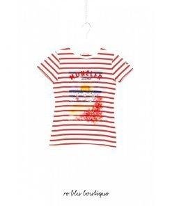 T-Shirt Moncler a manica corta a girocollo con righe rosse e stampa frontale di un disegno di fantasia, logo sulla manica.