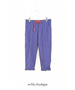 Pantalone Myths blu scuro con righe sottili colore a contrasto bianco, coulisse in vita con colore a contrasto rosso, tasche laterali.