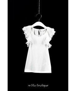 T-Shirt Chloè senza maniche color bianco ottico con effetto volant in tulles e dettagli ricamati sulle maniche, modello stretto e lungo