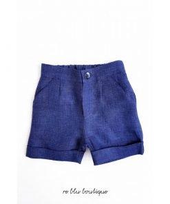 Bermuda blu scuro in lino La Macot con tasche laterali, chiusura cin zip e bottone, elastico in vita, modello svasato, chiusura con zip e bottone