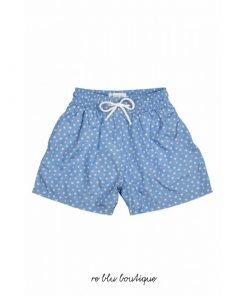 """Costume """"Oliver"""" Plume Bleu a bermudino con tessuto in poliestere a rapida asciugatura, toppa con logo sul retro, cintura elasticizzata."""