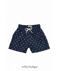 """Costume """"Nico"""" Plume Bleu a bermudino con tessuto in poliestere a rapida asciugatura, toppa con logo sul retro, cintura elasticizzata."""