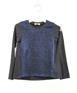 Maglietta Moncler a maniche lunghe blu scuro effetto lurex argento, modello a trapezio, mix di tessuti, logo sulla manica