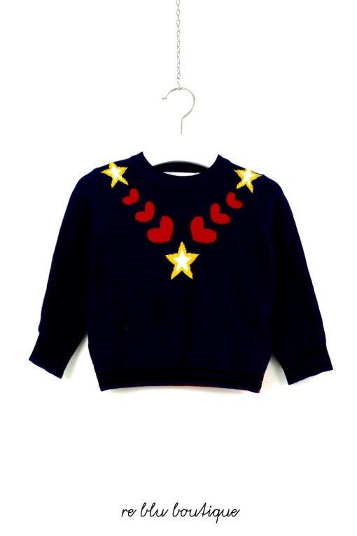 Maglione Smc a girocollo blu in misto lana con ricamati sul pannello frontale disegni con colori a contrasto, polsini e fondo a costine.