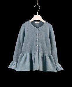 Cardigan azzurro ceruleo con bottoni tono su tono, effetto voile sul fondo, maniche a petalo con piccole costine sui polsi