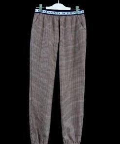 Pantalone a piccoli quadretti multicolor di Ermanno Scervino, modello gym, elastico in vita con nome del brand, senza zip, tasche america.