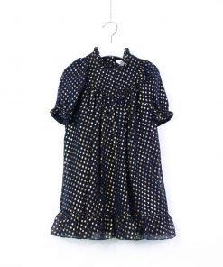 Vestito in tulle nero Bonpoint a manica lunga con arricciatura sulla maniche, piccoli pois su tutta la superficie del vestito, lunghezza midi
