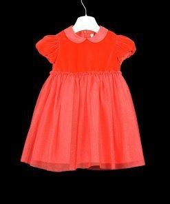 Vestito rosso con gonna in tulles tono su tono arricchita da un effetto glitter di Il Gufo, maniche corcte arricciate, colletto arrotondato,