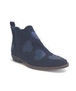Stivaletti blu scuro in camoscio modello texano alla caviglia modello, senza zip è slip-om quindi si infila. Cuori glitterati tono su tono