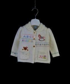 Cardigan color panna di Polo Ralph Lauren caratterizzato da graziosi motivi in maglia a intarsi e dal collo con un ricamo delicato