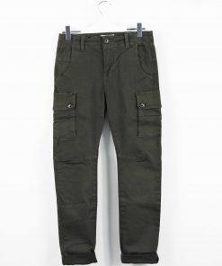 Pantalone in cotone modello cargo con tasche laterali, modello dritto, bottoni sportivi