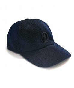 Capello modelo baseball con visiera nella tonalità blu effetto lurex, stemma frontale e centrale tono su tono
