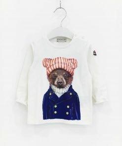 aglietta a manica lunga Moncler, stampa frontale di un orso di fantasia che indossa un cappello, logo a stemma laterale sulla manica