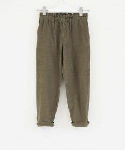 Pantalone Bonpoint di velluto verde oliva con a piccole costine, elastico in vita, vita alta, due tasche posteriori e piccolo logo in colore a contrasto