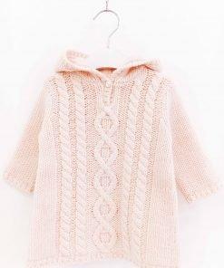 Cappa Bonpoint rosa pallido in misto alpaca, cappuccio non rimovibile con dettaglio di pon-pon finale, zip anteriore a scomparsa