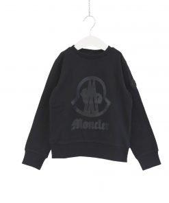 Felpa girocollo nera Moncler in cotone con stampa del brand in formato xl tono su tono, polsini e fondo della felpa a costine