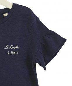 T-shirt blu con effetto vintage Les Coyotes De Paris, piccolo ricamo con il nome del brand scritto in corsivo, maniche a petalo con finitura volant