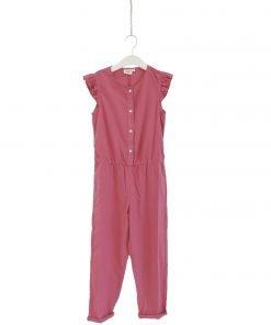 Tuta in cotone rosa ciclamino Hartford, maniche molto corte co finitura in volant, elastico in vita, bottoni a contrasto avorio. Vestibilità asciutta