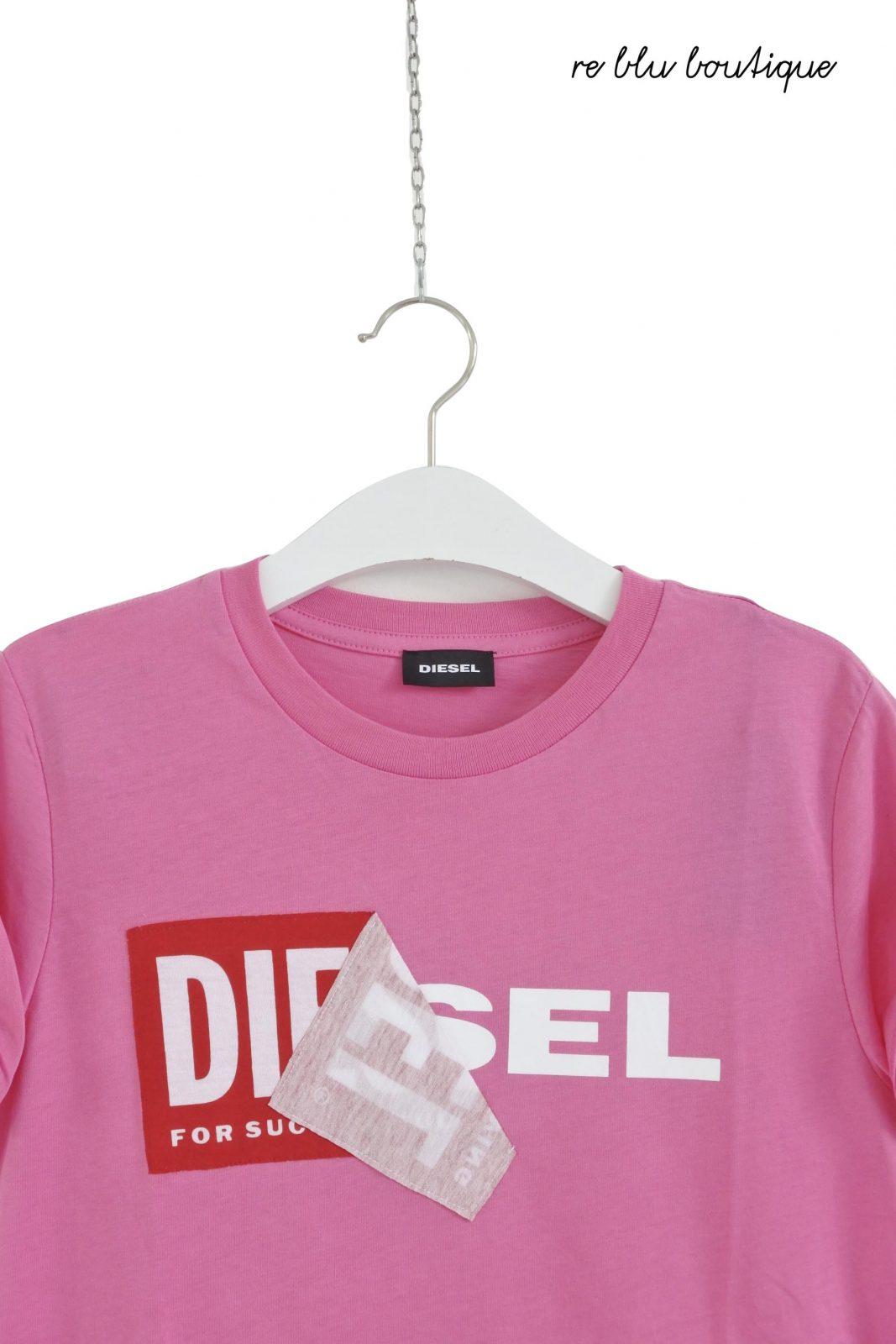 4f9ac4c6f89 T-Shirt Rosa Logo Strappato Diesel - Re Blu