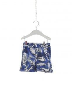 Pantaloni corti in cotone con stampa realizzata in esclusiva per Il Gufo. Vestibilità regolabile grazie al pratico elastico in vita.