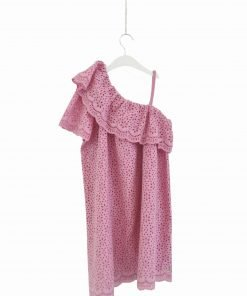 Vestito rosa barby MSGM, collo assimettrico con ruches, una spallina sottile elasticizzato, profili smerlati. Fodera in mussola di cotone