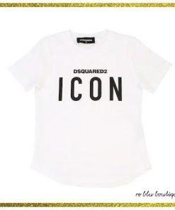 """T-shirt Dsquared2 bianca in cotone, modello a girocollo, collo a costine, stampa sul pannello frontale """"Icon"""""""