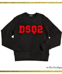 """Felpa girocollo nera in cotone Dsquared2, collo, polsini e fondo a costine, stampa sul pannello frontale rossa con acronimo del brand """"DSQ"""""""
