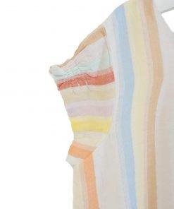 """Blusa a maniche corte righe verticali color pastello e leggero effetto lurex. Il modello si chiama """"Pam"""", fondo e maniche arricciate"""