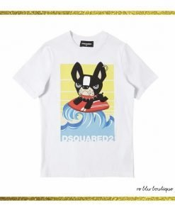 T-Shirt Dsquared2 girocollo bianca con stampa sul pannello frontale di un disegno esclusivo del brand, collo a costine