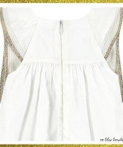 Vestito in percale color avorio Chloè, modello senza maiche, chiusura sulla schiena con zip a scomparsa, volants con passamaneria lurex