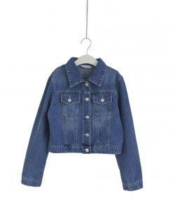 Giacca jeans Chiara Ferragni in denim bluette, maxi logo sulla schiena con stampato il logo del brand: l'occhio flirting. Bottoni argento serigrafati