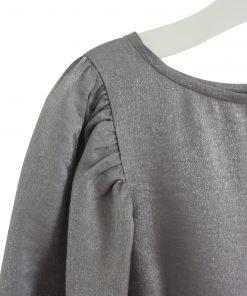 Vestito DouDou grigio scuro lucifo a maniche lunghe, chiusa sulla schiena con bottone tono su tono, maniche a tre quarti con elastico per un effetto palloncino