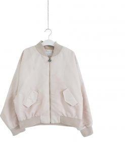 Bomber pesopiuma Chiara Ferragni in color rosa pallido,maxi logo ricamato con effetto 3d sulla schiena,chiusua con zip oro,collo e fondo a costine