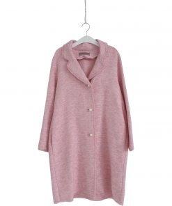 Cappotto in tweed Ermanno Scervino color rosa barby, revers a specchio, chiusura frontale con bottoni. Bottoni con perle di imitazione, due tasche laterali