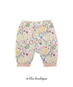 Pantalone in cotone organico StellaMcCartney con stampa frutta su tutta la superficie, vita elasticizzata, piccola tasca posteriore con fantasia diversa