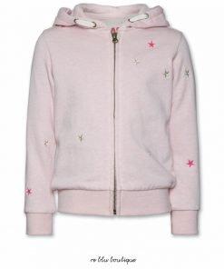 Felpa zip con cappuccio AO76, color rosa pastello, coulisse per stringere il cappuccio in tinta corda, applicati sulla superficie in ordine sparso piccole stelline fluo