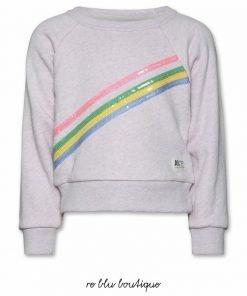 Felpa girocollo in cotone AO76, color rosa mèlange, tre strisce sul pannello frontale dai colori a contrasto posizionate in diagonale. Modello cropped, vestibilità regolare