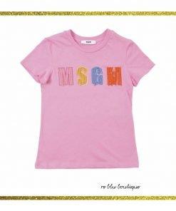 T-shirt MSGM girocollo rosa barby, collo a costine, patch con il nome del brand frontale con decorazioni di perline multicolor