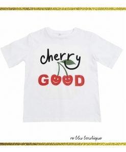T-Shirt StellaMcCartney bianca in cotone con stampa sul pannello frontale di in disegno esclusivo del brand, collo a costine