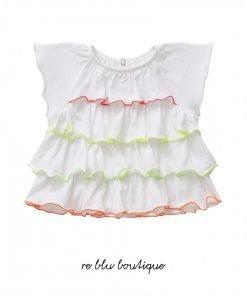 T-shirt Il Gufo a manica corta in cotone bianco con balze rifinite in punto bambola dai toni vivaci. Manichetta con volant e chiusura sul retro.