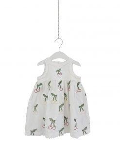 Vestito senza maniche in misto lino StellaMcCartney, su tutta la superficie ricami multicolor di ciliegie, bottoni sulla schiena.
