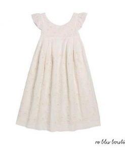 """Vestito color avorio modello """"Galant"""" di Bonpoint maniche a rouches, motivi ricamati tono su tono, effetto plissettato, lunghezza midi"""